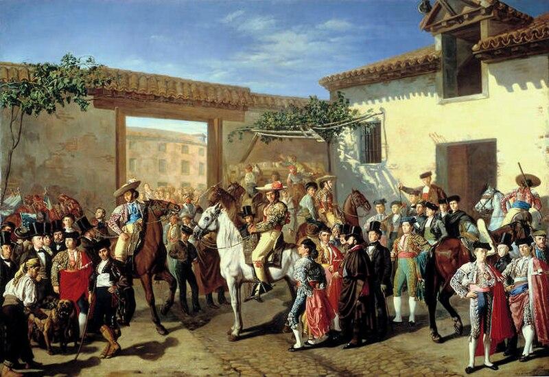 File:Patio de la cuadra de caballos de la plaza de toros, antes de una corrida.jpg