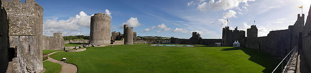 Panorama of Pembroke Castle's outer ward. Photo by Mark Jones.