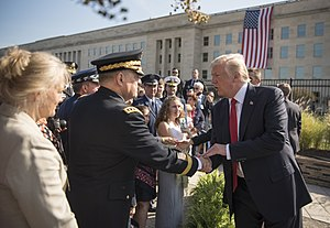 Mark A. Milley - President Donald Trump shakes hands with Mark A. Milley following the 9/11 Observance Ceremony at the Pentagon in Washington, D.C., September 11, 2017