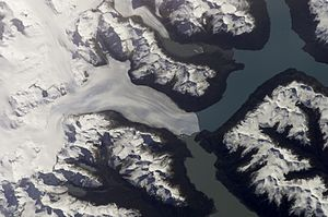 Satellite view of the Perito Moreno Glacier (Santa Cruz Province) and the Andean ice-sheet