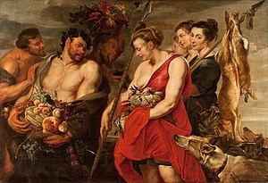 National Museum of Serbia - Diana Presenting the Catch to Pan by Peter Paul Rubens, oil on canvas 1615, W: 211.5 cm (83.3 in). H: 145 cm (57.1 in).