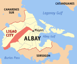 Map of Albay showing the location of Ligao City