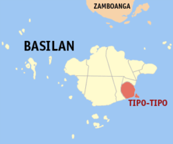 Map of Basilan with Tipo-Tipo highlighted