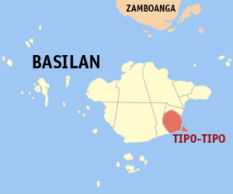 2007 Basilan beheading incident - Map of Basilan showing the location of Tipo-Tipo.