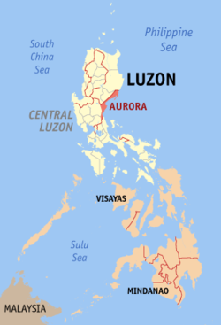 Map of the Philippines with Aurora highlighted