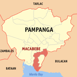 Map of Pampanga showing the location of Macabebe