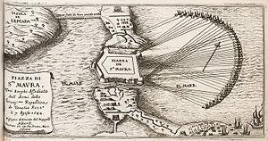 Morean War - Sketch of the Siege of Santa Maura, by Jacob Peeters