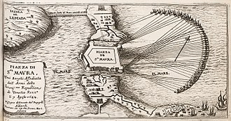 Morean War - Sketch of the Siege of Santa Maura, by Jacob Peeters