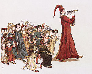 "Pied Piper of Hamelin - The Pied Piper leads the children out of Hamelin. Illustration by Kate Greenaway for Robert Browning's ""The Pied Piper of Hamelin"""