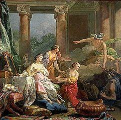 Mercure amoureux de Hersé change en pierre Aglaure qui voulait l'empêcher d'entrer chez sa sœur