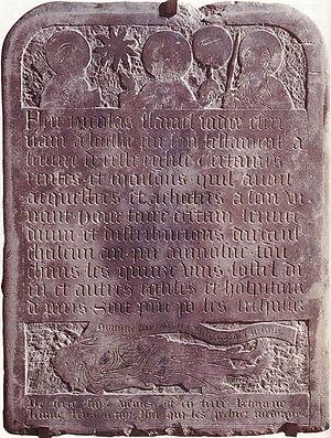 Nicolas Flamel - Tombstone of Nicolas Flamel, 1418, Paris, Musée de Cluny.