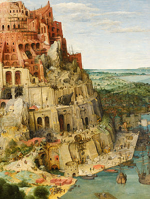 The Tower of Babel (Bruegel) - Detail at right side, with original rock formation.