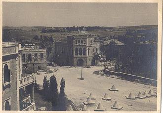 Shmuel HaNavi Street - Area separating Jewish Jerusalem from Arab Jerusalem before the erection of the Mandelbaum Gate, May 1949.