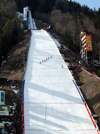 Hill size - Letalnica Bratov Gorišek in Planica, Slovenia. The construction point is marked with a horizontal line at the top of the red vertical line, while the line at the bottom is the hill size point.