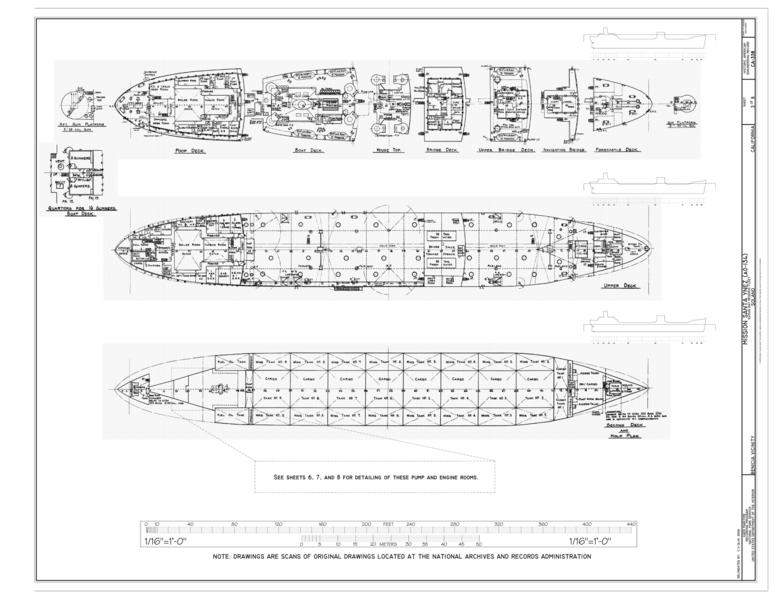 file:plans- aft gun platform, quarters for 16 gunmen, poop deck, boat deck,  house top, bridge deck, upper bridge deck, navigating bridge, forecastle  deck,