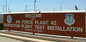 United States Air Force Plant 42 - Sign by one of the gates into Plant 42.