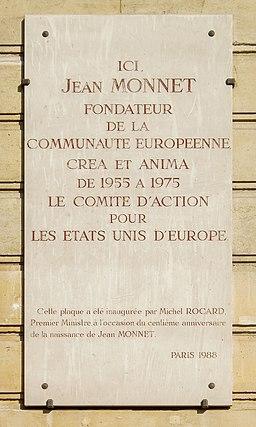 Plaque Jean Monnet, 94 boulevard Flandrin, Paris 16
