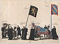 Plate 45- Men with heraldic flags and horses from the House of Brabant and Burgundy marching in the funeral procession of Archduke Albert of Austria; from 'Pompa Funebris ... Alberti Pii' MET DP874753.jpg