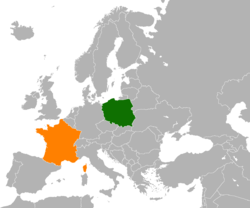 Map indicating locations of Poland and France