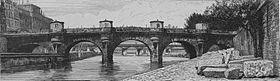 Gezicht op de nieuwe brug in 1852, met de winkels duidelijk zichtbaar op elke paal