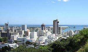 Skyline of Port Louis, the capital of Mauritius.