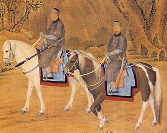 Imperial hunt of the Qing dynasty - Detail from Portrait of the Emperor Troating for Deer, by Giuseppe Castiglione (1741)
