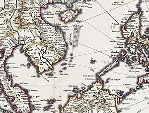 "Placer (geography) - ""I. de Pracel"" south of Hainan in a 16th-century Nicolaes Visscher II map"