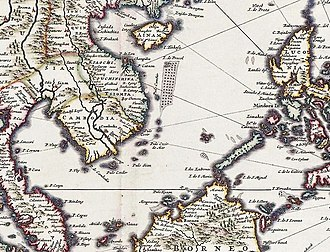 """Placer (geography) - """"I. de Pracel"""" south of Hainan in a 16th-century Nicolaes Visscher II map"""