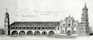 Malolos Cathedral - The pre-1863 lithograph photo of Malolos Church before the earthquake that toppled the clock tower to the left in 1863