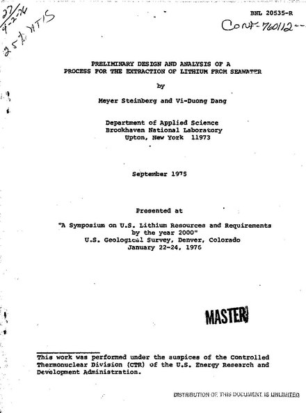 Analyses of the extraction of lithium from seawater, published in 1975 Preliminary Design And Analysis of a process for the extraction of lithium from seawater.pdf