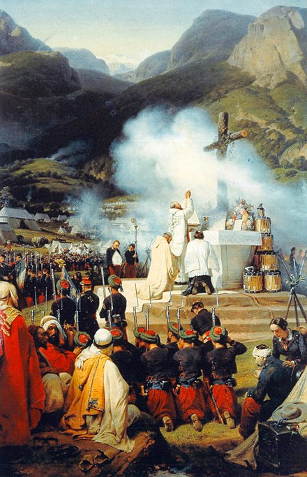 First mass in Kabylie during the French conquest of Algeria, 1837 Premiere messe en kabylie horace vernet.jpg