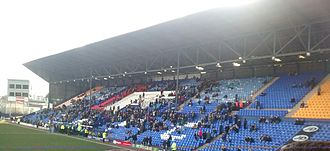 Prenton Park - The Main Stand in 2015 viewed from The Cowshed Stand