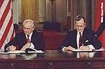 President George H.W. Bush and President Mikhail Gorbachev sign the START Treaty.jpg