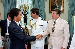 President Ronald Reagan shaking hands with Arthur Ashe.jpg