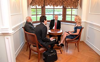 St. Petersburg International Economic Forum - Russian President Vladimir Putin and Indian Prime Minister Narendra Modi meeting with NBC's Megyn Kelly, 1 June 2017