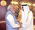 Prime Minister Narendra Modi being received by Abu Dhabi Crown Prince Mohammed bin Zayed Al Nahyan.jpg
