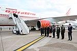 Prime Minister Narendra Modi exiting Air India One at Heathrow Airport, London.jpg