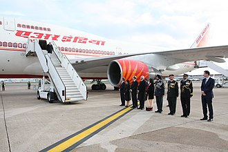 Air India One - Prime Minister Narendra Modi exiting Air India One after arriving at London's Heathrow Airport in November 2015.