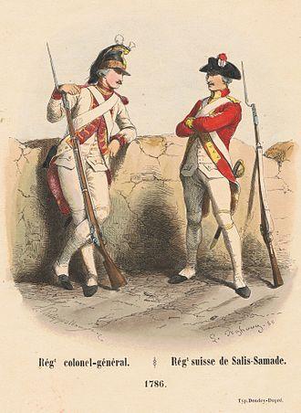 Henri Félix Emmanuel Philippoteaux - Image: Print after Henri Félix Emmanuel Philippoteaux, of Régiment colonel général & Régiment suisse de Salis Samade, 1786