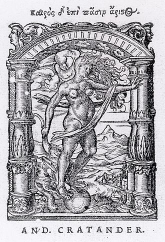 "Andreas Cratander - Printer's Device for Andreas Cratander, designed by Hans Holbein the Younger and metalcut by Jacob Faber, 1522. The Greek motto translates: ""In all things it is best to take advantage of the right time."""