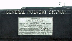 Pulaski Skyway - A plaque with dedication details