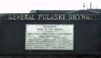 Pulaski Skyway - A plaque with dedication details