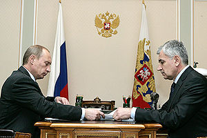 Nikolay Kiselyov (politician) - Vladimir Putin (left) and Nikolay Kiselyov (right).