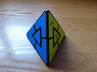 Pyraminx Duo - The Pyraminx Duo in its solved state.
