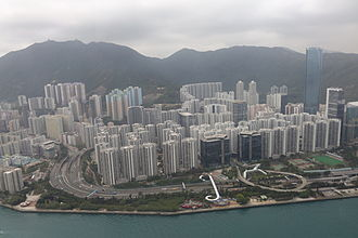 Quarry Bay - Aerial view of Taikoo Shing portion of the Quarry Bay, One Island East is the tallest building in the photo and  Mount Parker is on the background