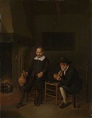 Interior with two men by the fire
