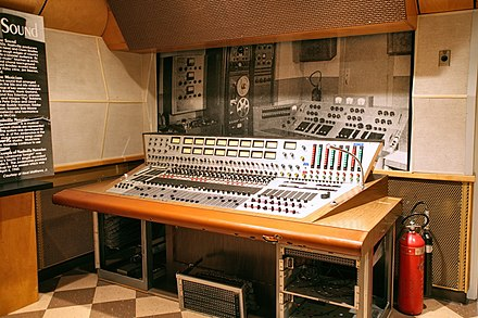 Bill Porter's audio console at RCA Studio B in Nashville. Studio B was the birthplace of the Nashville sound. RCAStudioB Console.jpg