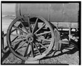 RIGHT REAR WHEEL DETAIL OF WATER WAGON. - Twenty Mule Team Borax Wagons, Death Valley Junction, Inyo County, CA HAER CAL,14-DVNM,4-15.tif