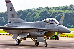 Republic of Singapore Air Force - An F-16C of 140 Sqn scrambling.