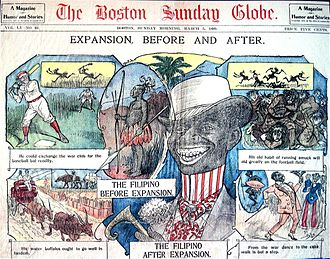 """Anti-Filipino sentiment - A newspaper clipping from the Boston Sunday Globe depicting a Filipino blackface before and after the expansion of the United States to the Philippines. The clipping portrays the transformation of the Filipino from being """"barbaric"""" to a """"civilized man""""."""